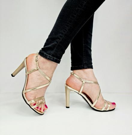 Sandale Dama Piele Naturala Aurii Moda Prosper Shakti D02771 [0]