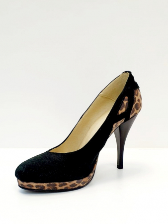 Pantofi cu toc Piele Naturala Negri Yela D027102