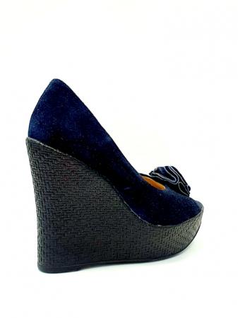 Pantofi Dama Piele Naturala Albastri Groza D027064