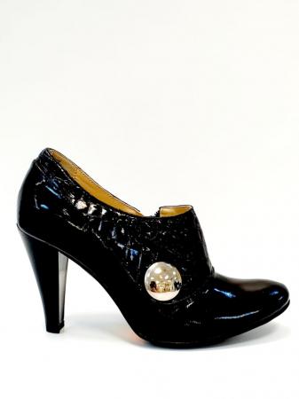Pantofi cu toc Piele Naturala Negri Teddy D027110