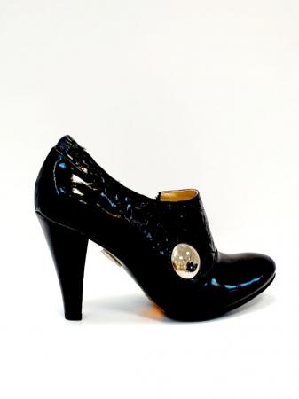 Pantofi cu toc Piele Naturala Negri Teddy D027113