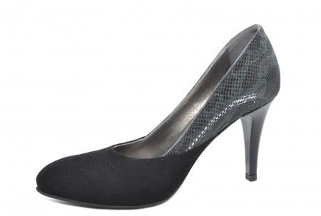 Pantofi cu toc Piele Naturala Negri Moda Prosper Saima D020692