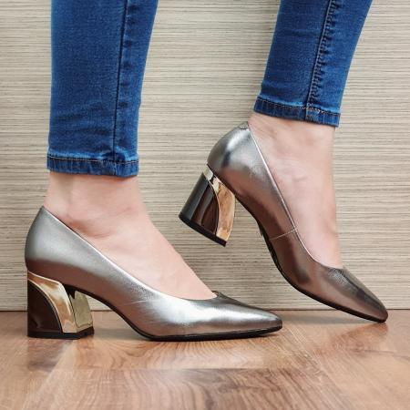 Pantofi cu toc Piele Naturala Epica Bronz Una D023361