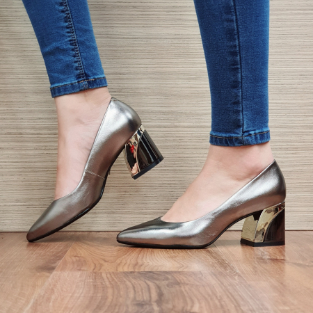 Pantofi cu toc Piele Naturala Epica Bronz Una D023362