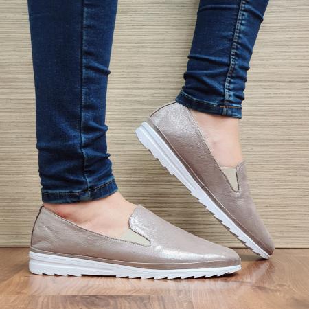 Pantofi Casual Piele Naturala Nude Esra D02295 [0]
