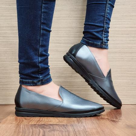 Pantofi Casual Piele Naturala Gri Estela D022960