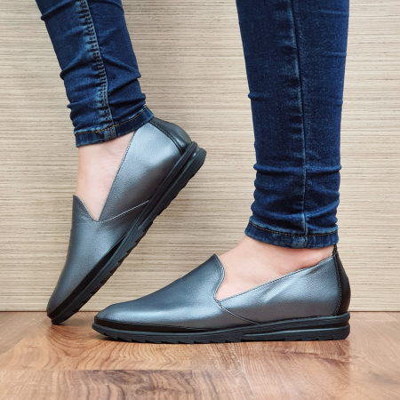 Pantofi Casual Piele Naturala Gri Estela D022961