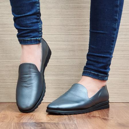 Pantofi Casual Piele Naturala Gri Estela D022962