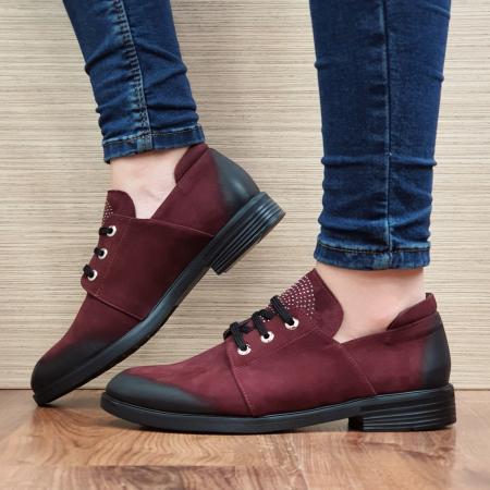 Pantofi Oxford Piele Naturala Grena Elina D022981