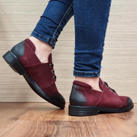 Pantofi Oxford Piele Naturala Grena Elina D022983