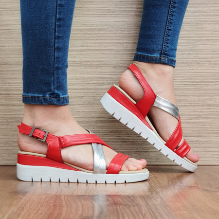 Sandale Piele Naturala Rosii Clarice [0]