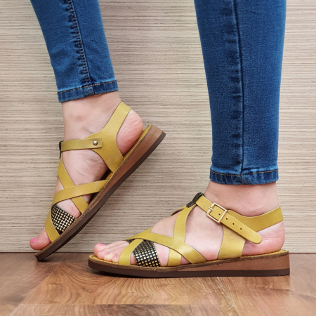 Sandale Piele Naturala Mustar Stephanie1