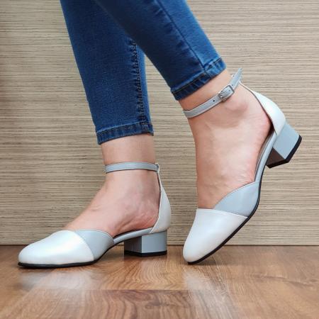 Pantofi Dama Piele Naturala Albi Renee D023162