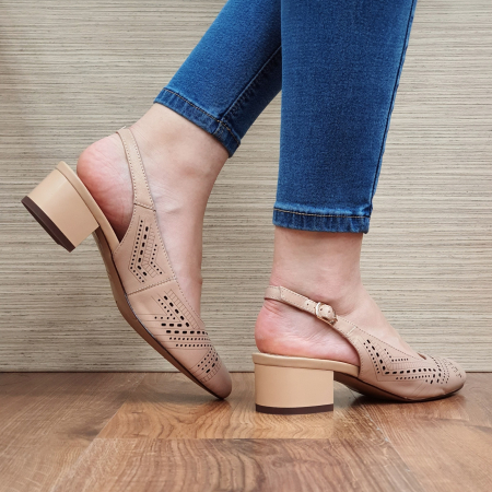 Pantofi Dama Piele Naturala Nude Reni D023193