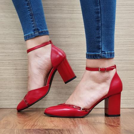 Pantofi Dama Piele Naturala Rosii Barbara D02322 [1]