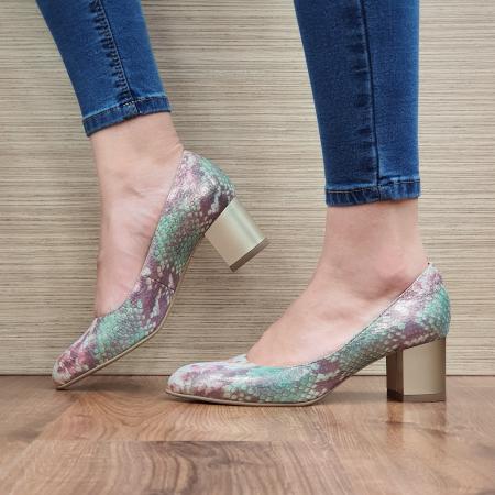 Pantofi cu toc Piele Naturala Multicolori Emma D023302