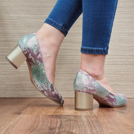 Pantofi cu toc Piele Naturala Multicolori Emma D023303