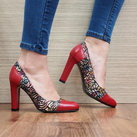 Pantofi cu toc Piele Naturala Rosii Yana D023310