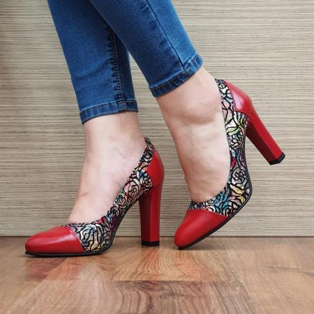 Pantofi cu toc Piele Naturala Rosii Yana D023312