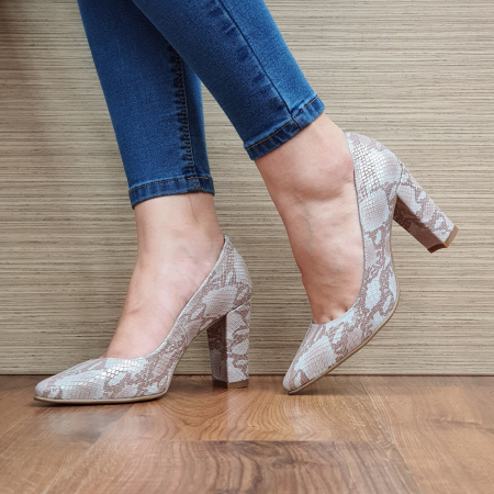 Pantofi cu toc Piele Naturala Crem Ariana D02332 [2]