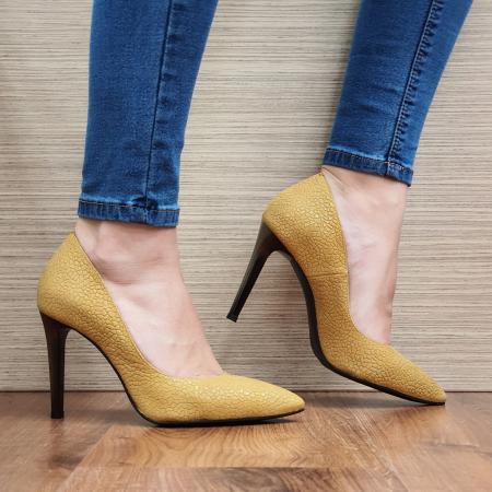 Pantofi cu toc Piele Naturala Mustar Darcia D023330