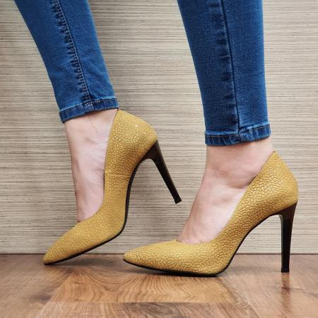 Pantofi cu toc Piele Naturala Mustar Darcia D023331