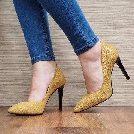 Pantofi cu toc Piele Naturala Mustar Darcia D023332