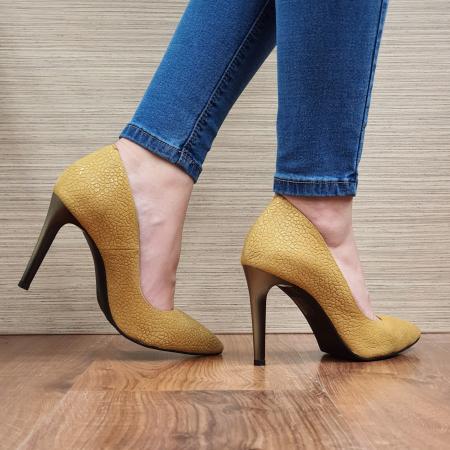 Pantofi cu toc Piele Naturala Mustar Darcia D023333