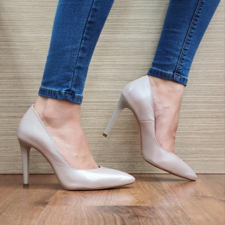 Pantofi cu toc Piele Naturala Bej Darcia D023340