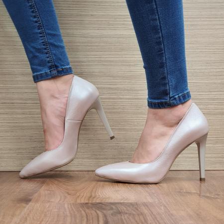 Pantofi cu toc Piele Naturala Bej Darcia D023341