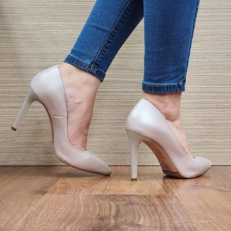 Pantofi cu toc Piele Naturala Bej Darcia D023343