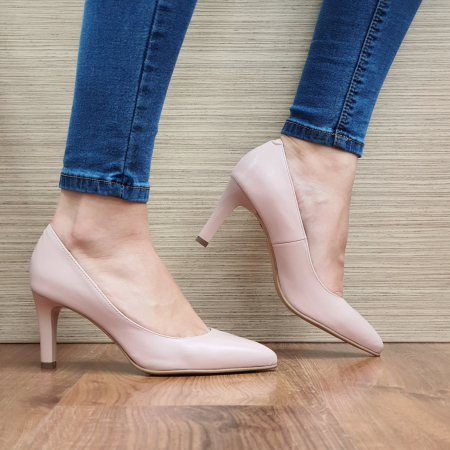 Pantofi cu toc Piele Naturala Nude Isabella D023351