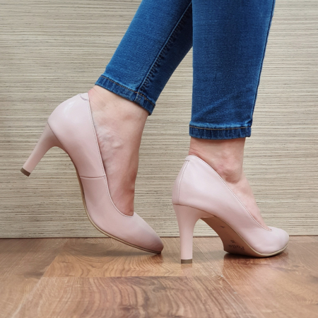 Pantofi cu toc Piele Naturala Nude Isabella D023353