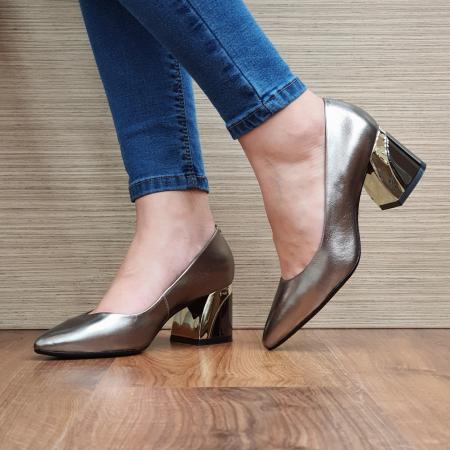 Pantofi cu toc Piele Naturala Epica Bronz Una D023360
