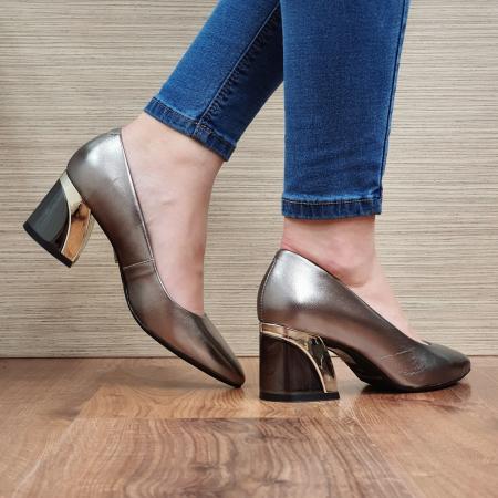Pantofi cu toc Piele Naturala Epica Bronz Una D023363