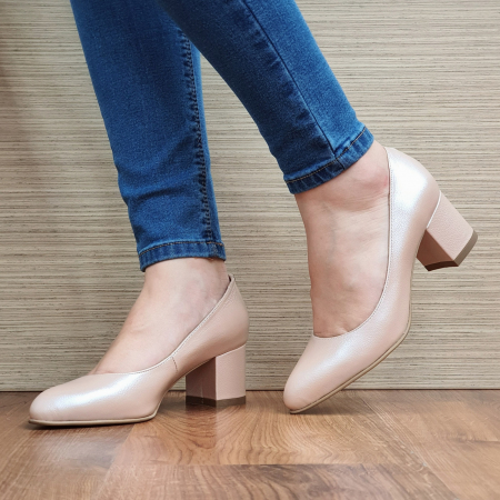Pantofi cu toc Piele Naturala Nude Emma D02338 [2]