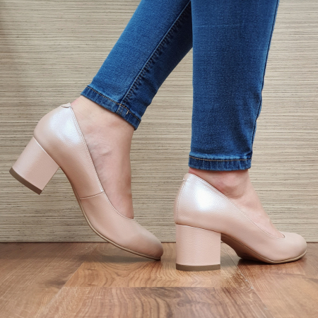 Pantofi cu toc Piele Naturala Nude Emma D02338 [3]