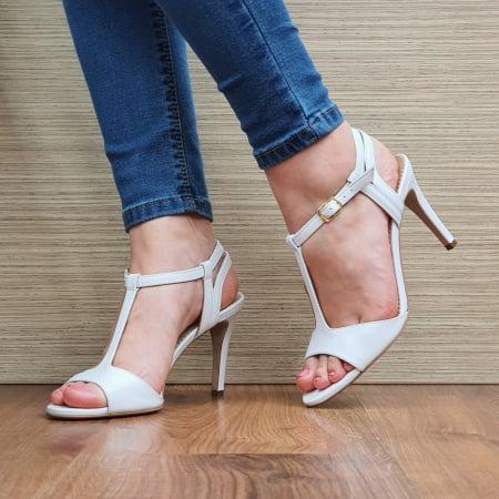 Sandale Piele Naturala Guban Albe Fifi0
