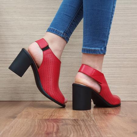 Sandale Piele Naturala Rosii Lara3