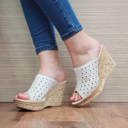 Papuci Piele Naturala Bej Naida D02361 [2]