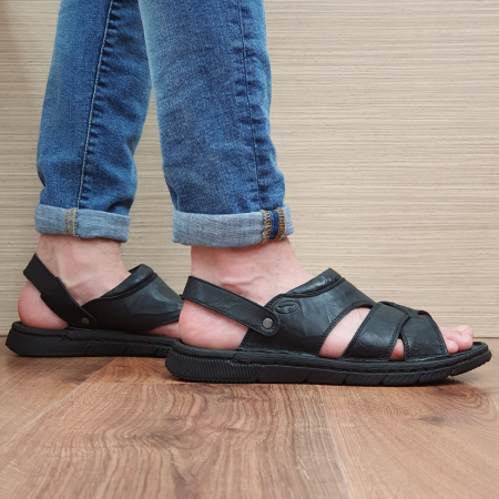 Sandale/Papuci Barbati Piele Naturala Negri Avram B000540