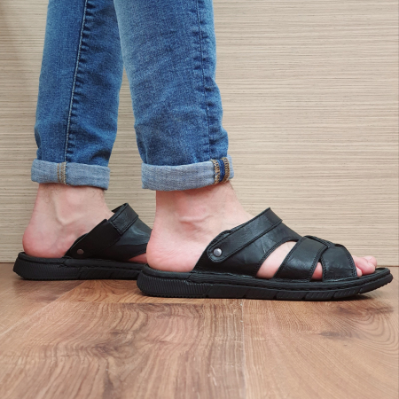 Sandale/Papuci Barbati Piele Naturala Negri Avram B000544