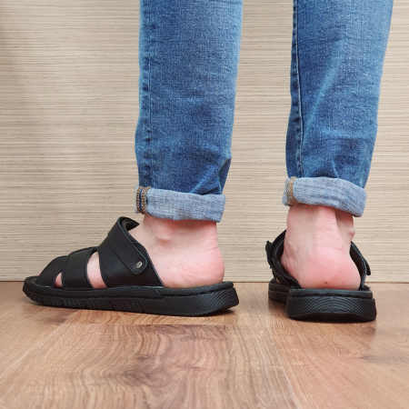 Sandale/Papuci Barbati Piele Naturala Negri Avram B000547