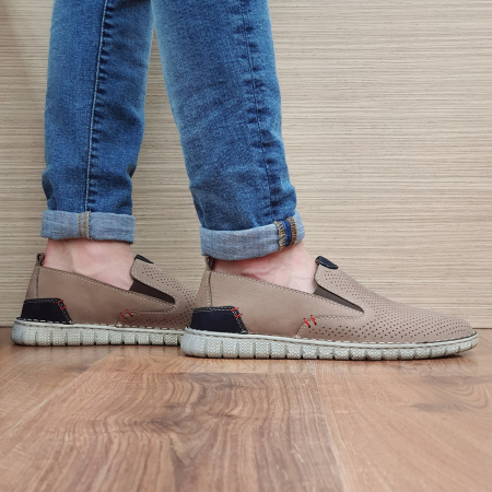 Pantofi Casual Barbati Piele Naturala Bej Amir B000560