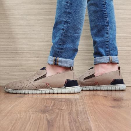 Pantofi Casual Barbati Piele Naturala Bej Amir B000561