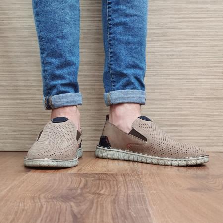 Pantofi Casual Barbati Piele Naturala Bej Amir B000562