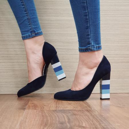 Pantofi cu toc Piele Naturala Bleumarin Mandisa D02372 [1]