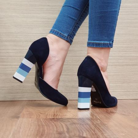 Pantofi cu toc Piele Naturala Bleumarin Mandisa D02372 [3]