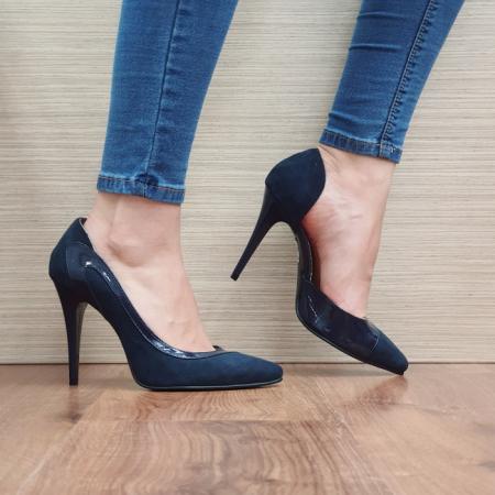 Pantofi cu toc Piele Naturala Bleumarin Noor D023972