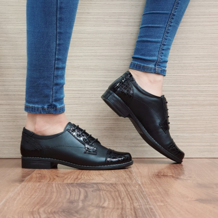 Pantofi Oxford Piele Naturala Negri Elke D025140